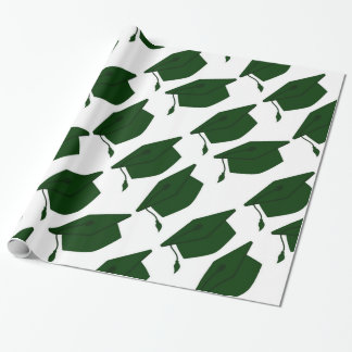 FOREST GREEN & WHITE GRADUATION WRAPPING PAPER