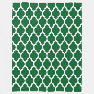 Forest Green, White Moroccan Quatrefoil Pattern #4 Fleece Blanket