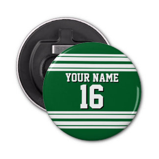 Forest Green White Team Jersey Custom Number Name Bottle Opener
