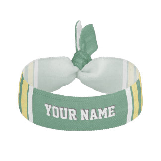 Forest Green with Yellow White Stripes Team Jersey Hair Tie