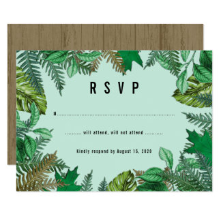 Forest Greenery Wreath of Leaves RSVP Card