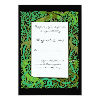 "Forest Greens Celtic Animals Design Wedding RSVP 3.5"" X 5"" Invitation Card"