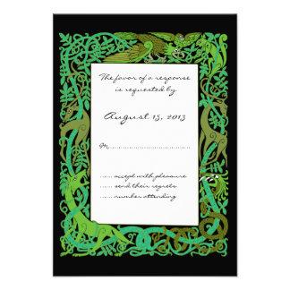 Forest Greens Celtic Animals Design Wedding RSVP Invites