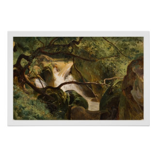 Forest Interior with a Waterfall, Papigno Poster