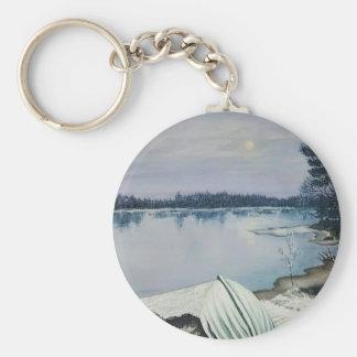Forest lake basic round button keychain