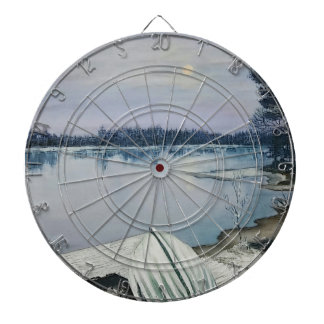 Forest lake dartboard with darts