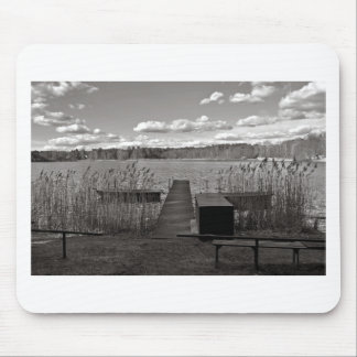 Forest Lake in Black and White Mouse Pad