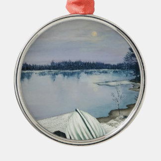 Forest lake Silver-Colored round ornament