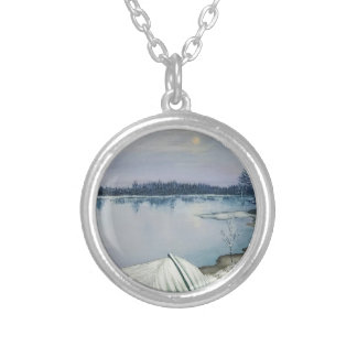 Forest lake silver plated necklace