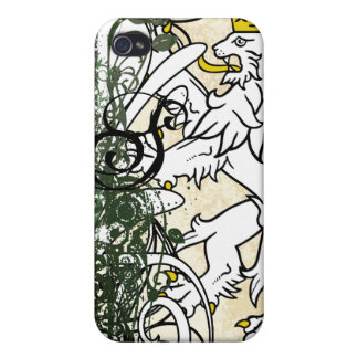 Forest Monogram Retro Grunge Lion Rampant iPhone Cover For iPhone 4