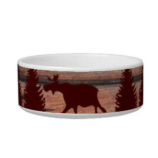 Forest Moose Wolf Wilderness Mountain Cabin Rustic Bowl