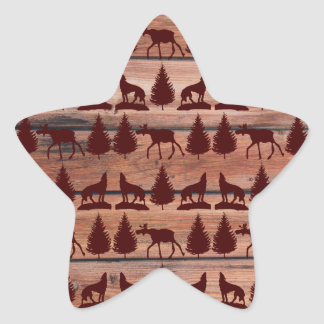 Forest Moose Wolf Wilderness Mountain Cabin Rustic Stickers