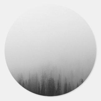 Forest Nature Landscape Scene Foggy Mystical Classic Round Sticker