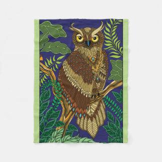 Forest Night Owl Fleece Blanket