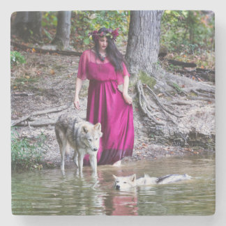 Forest Nymph with her wolves Stone Coaster