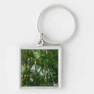 Forest of Palm Trees Tropical Green Silver-Colored Square Keychain