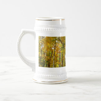 Forest of Yellow Leaves Autumn Nature Photography Beer Stein
