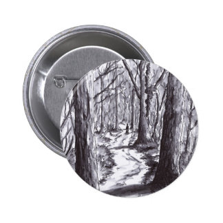forest path ink landscape drawing 2 inch round button