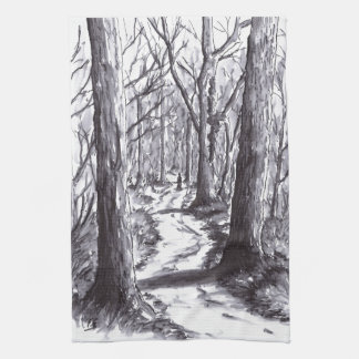 forest path ink landscape drawing kitchen towel