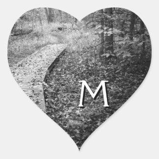 Forest Path Monogram Envelope Seals Heart Sticker