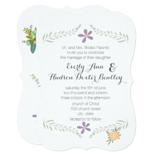 Forest Peach Lilac Aqua Floral Garland Wedding Card