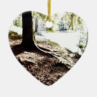 Forest Pond Ceramic Heart Ornament