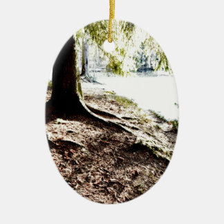 Forest Pond Ceramic Oval Ornament