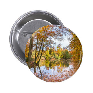 Forest pond covered with leaves in winter season 2 inch round button