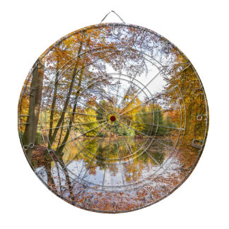 Forest pond covered with leaves in winter season dartboard