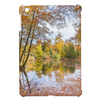 Forest pond covered with leaves in winter season iPad mini cover