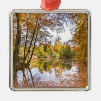 Forest pond covered with leaves in winter season metal ornament