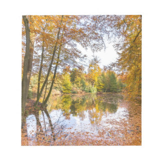 Forest pond covered with leaves in winter season notepad