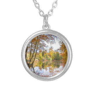 Forest pond covered with leaves in winter season silver plated necklace