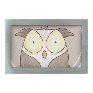 Forest portrait owl rectangular belt buckle