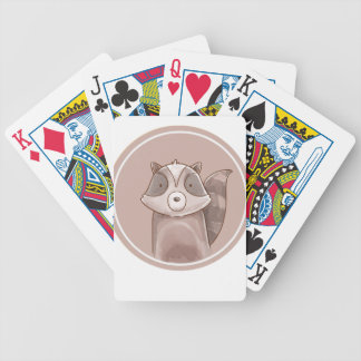 Forest portrait raccoon bicycle playing cards