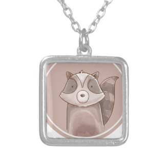 Forest portrait raccoon silver plated necklace