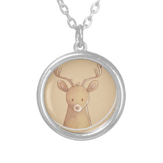 Forest portrait to deer silver plated necklace