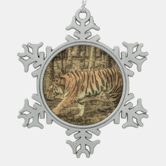 Forest predator wildlife Majestic Wild Tiger Snowflake Pewter Christmas Ornament