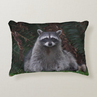Forest Raccoon Photo Decorative Pillow