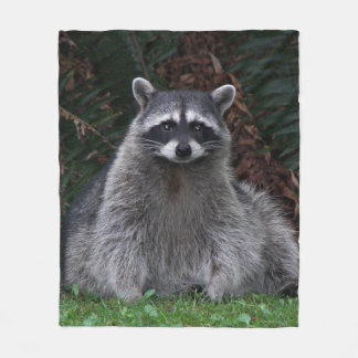 Forest Raccoon Photo Medium Fleece Blanket