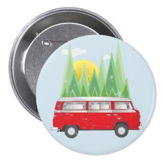 Forest retro Van 3 Inch Round Button