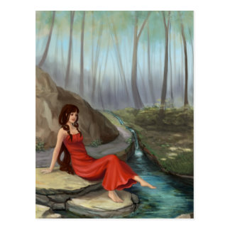 Forest Rivulet - Fantasy Forest Elf Girl Postcard