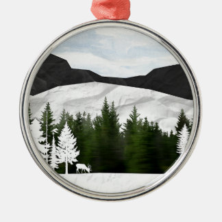 Forest Scene Metal Ornament