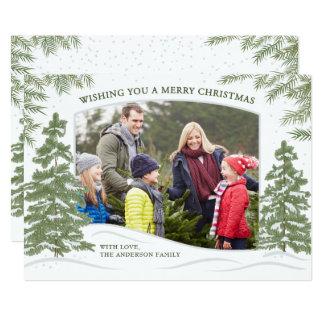 Forest Snowfall Christmas Card White