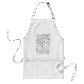 Forest Stream Line Art Design Standard Apron