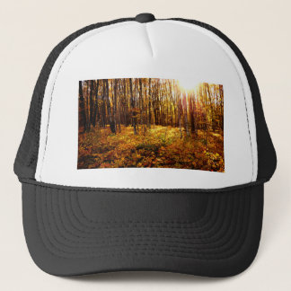 Forest Sunset in the fall Maple Bush Trucker Hat