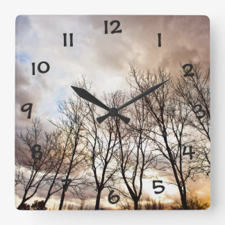Forest Trees At Sunset With Cloudy Sky Square Wall Clock