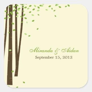 Forest Trees Favor Sticker or Envelope Seal- Green