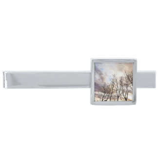 Forest Trees in Autumn with Cloudy Sky Silver Finish Tie Bar