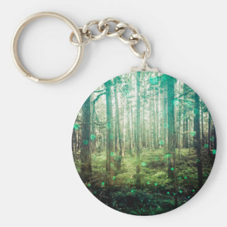 Forest Trees - In the Woods Pattern Basic Round Button Keychain